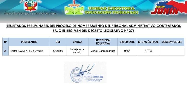 RESULTADOS PRELIMINARES DEL PROCESO DE NOMBRAMIENTO DEL PERSONAL ADMINISTRATIVO CONTRATADOS BAJO EL RÉGIMEN DEL DECRETO LEGISLATIVO N° 276