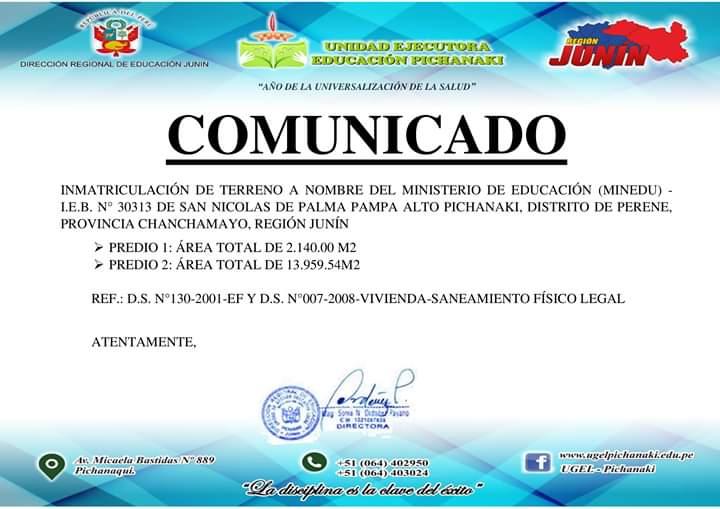 INMATRICULACIÓN DE TERRENO A NOMBRE DEL MINISTERIO DE EDUCACIÓN