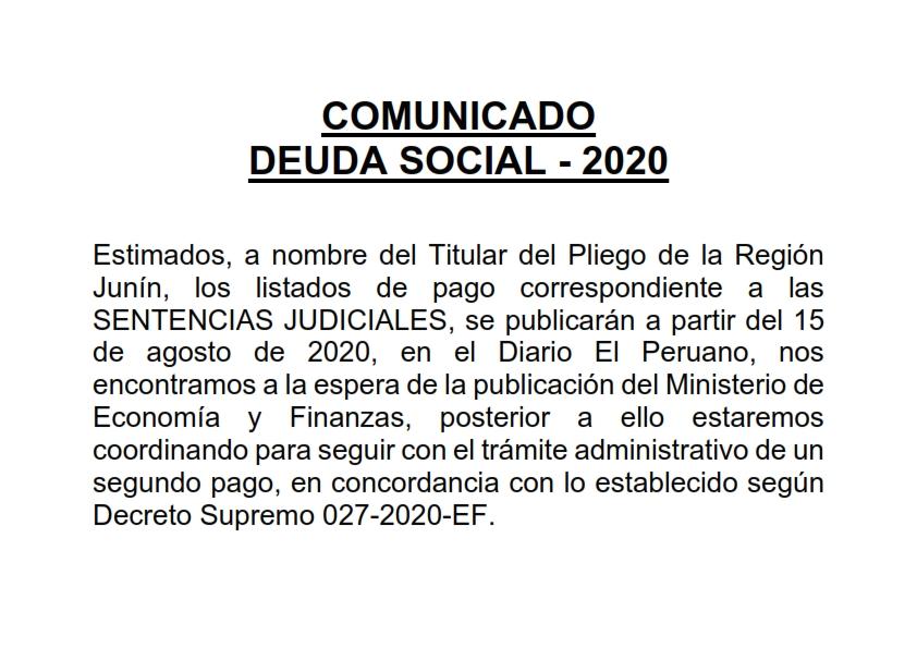🔈🔈Comunicado Deuda Social 2020